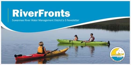 RiverFronts text with an image of three people kayaking