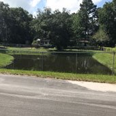 A retention pond in a subdivision.