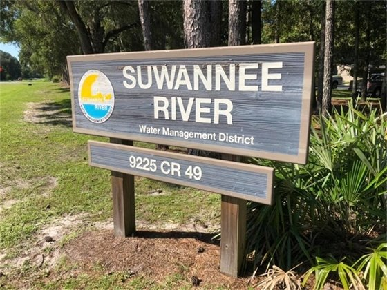 Suwannee River Water Management District sign outside the headquarter office.