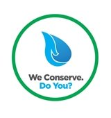 """Water Conservation Badge with a water drop and text that says """"We Conserve. Do You?"""""""