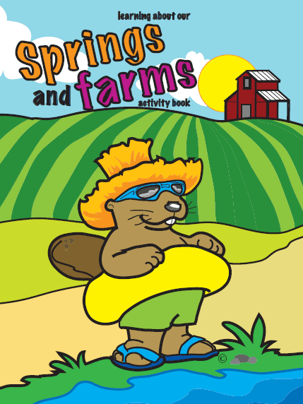 Cover of a coloring book with a beaver, water and farm land